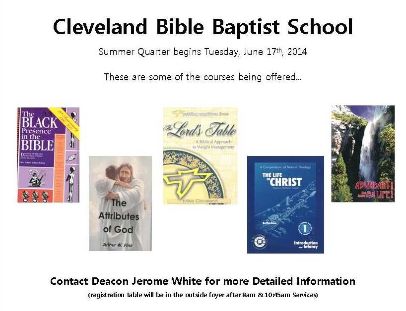 Cleveland_Bible_Baptist_Summer_Quarter_2014